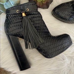 Topshop premium leather woven ankle boots